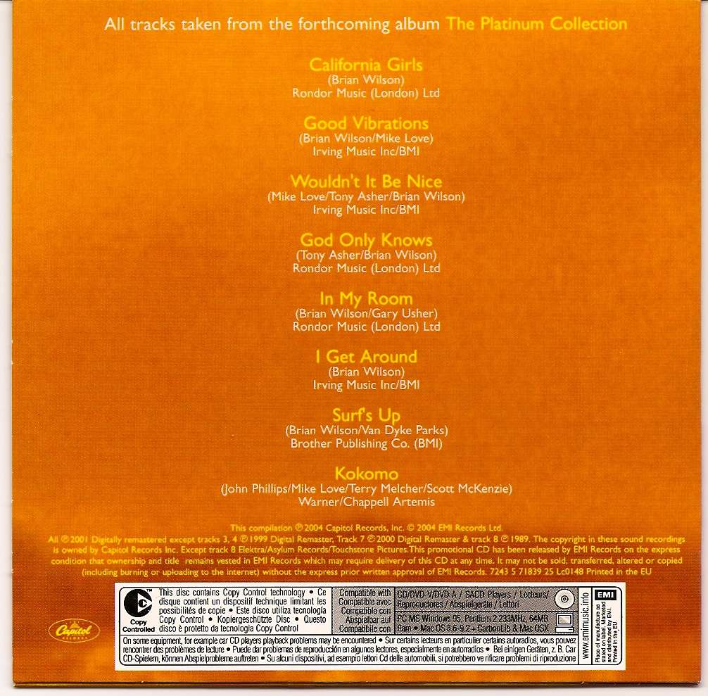 Beach Boys Brian Wilson Promo Cd Extravaganza Vol 7 The
